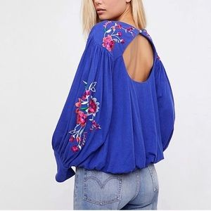 Free People Lita Floral Embroidered Keyhole Top| L